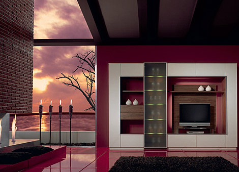 Purple theme colored living room design designs for home - Purple themed bedroom ideas ...