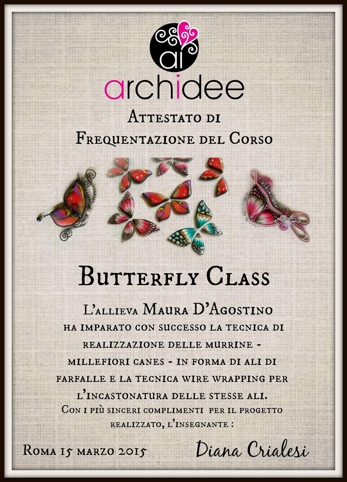 attestato butterfly class