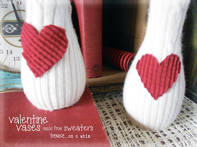 White Sweaters used to Pretty up a Vase via http://deniseonawhim.blogspot.com