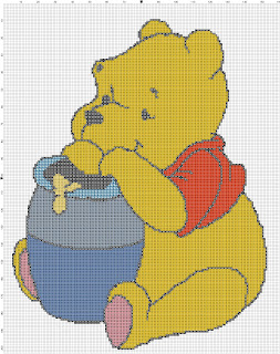 Winnie the pooh eating honey cross stitch pattern