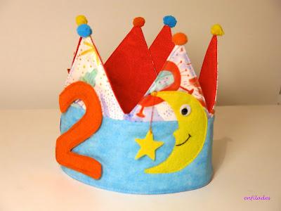 Corones d'aniversari lluna nens i nenes fetes a mà Enfilades