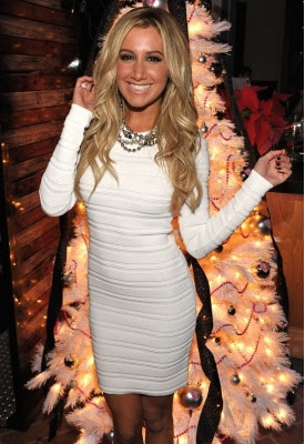 Long Sleeve White Dress on Daily Celebrity Style  Ashley Tisdale Wearing Long Sleeve White Dress
