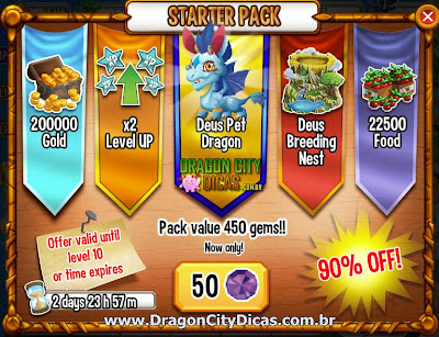 "Novo ""Pack de Início"" do Dragon City"