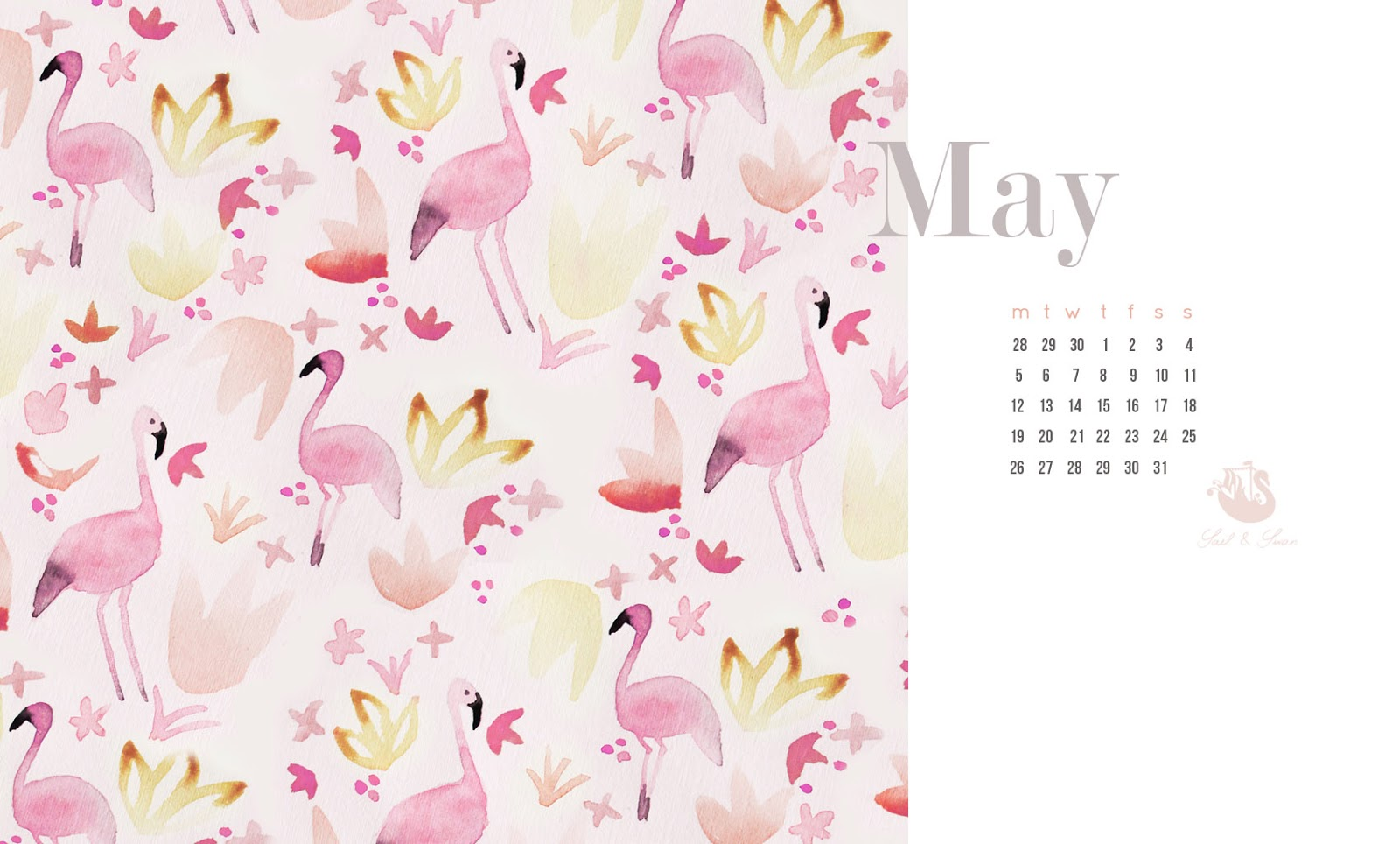 free desktop background watercolor painted pattern flamingos sail and swan