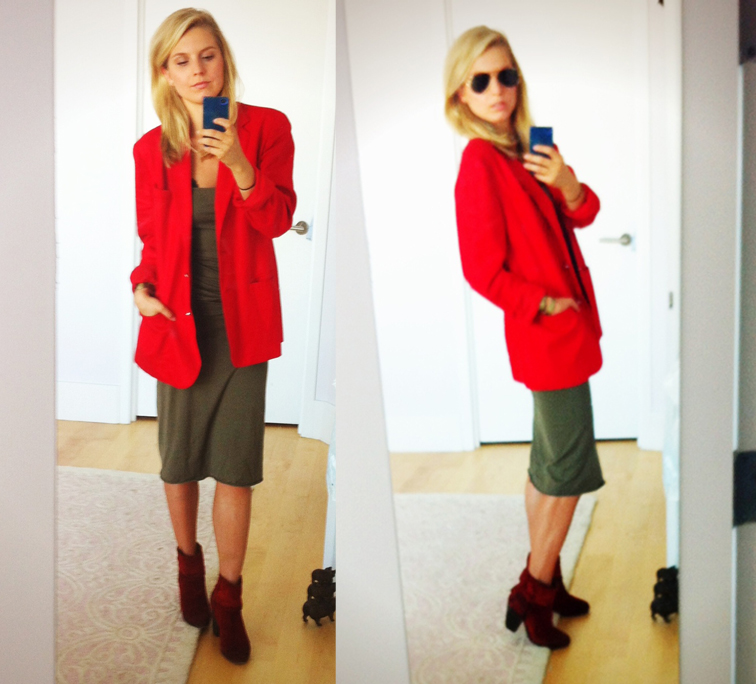 OOTD Red & Green Boyfriend Blazer Ralph Lauren