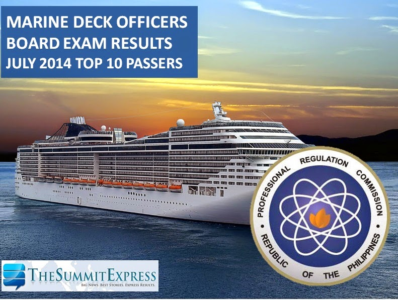 Top 10 Passers: UC grad tops July 2014 marine deck officer board exam