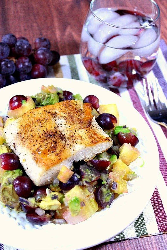 Seared Mahi Mahi with Pineapple, Grape and Avocado Salsa Recipe - www.kudoskitchenbyrenee.com