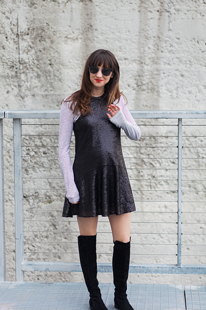 sequined maternity dress, maternity style, bump style, free people sequined dress, drop waist dress, over the knee suede boots, over the knee boots for short women, stripes and sequins, nashville blogger, nashville street style, nashville fashion, southern fashion blogger
