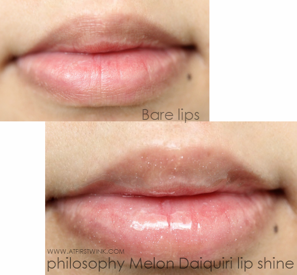 philosophy melon daiquiri lip shine on lips swatched