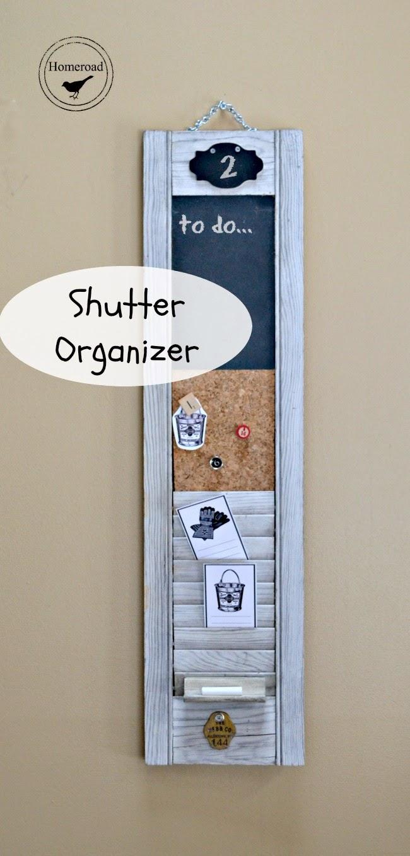 Weathered Repurposed Shutter Organizer www.homeroad.net