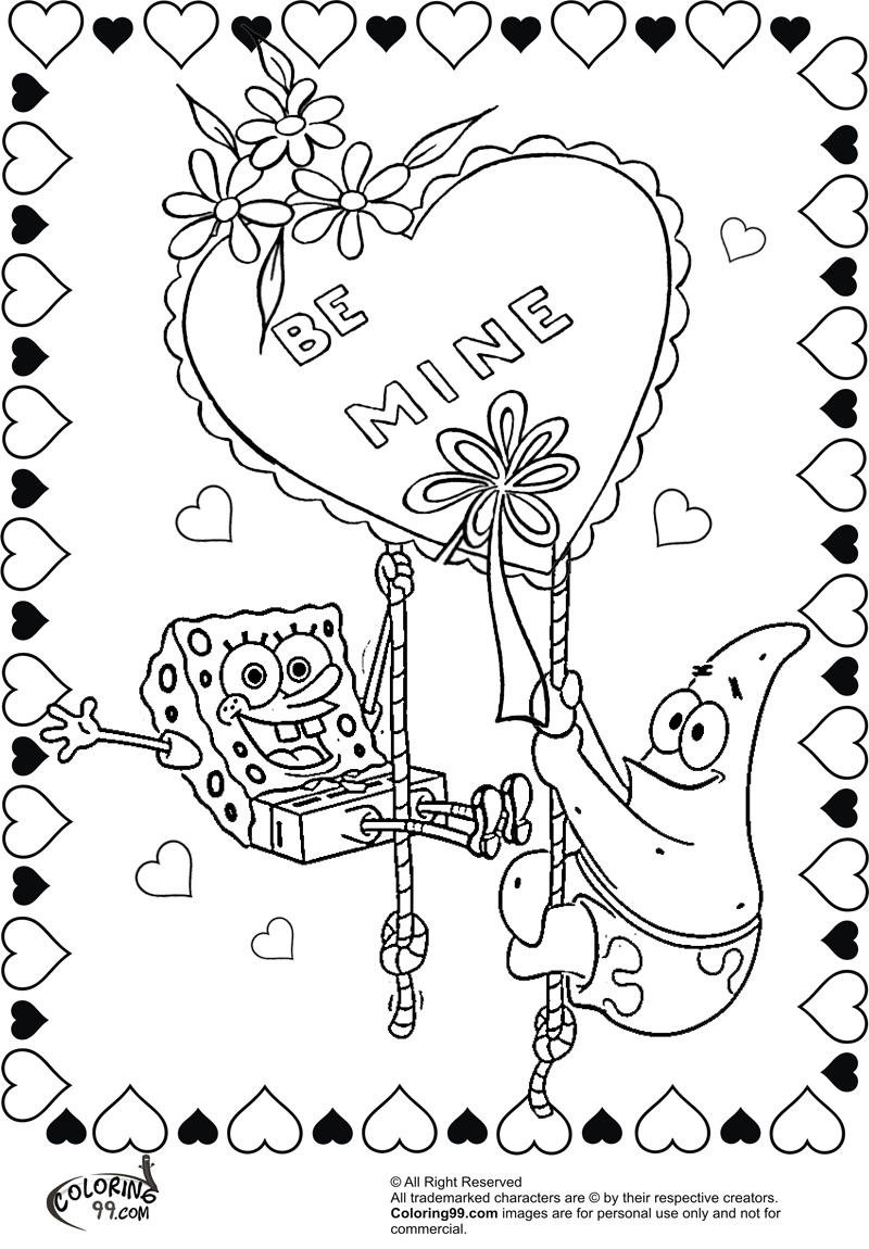 spongebob and patrick coloring pages for valentine