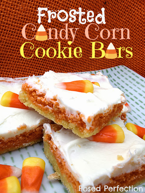Frosted Candy Corn Cookie Bars by www.posedperfection.com