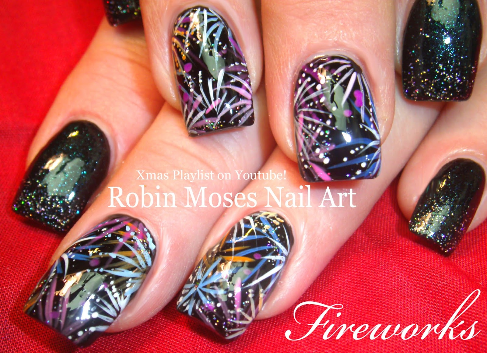 Robin moses nail art happy new year 2016 new years nails new easy nye nail art design fun firework new years nails tutorial firework nail art for new years eve fun and cute to do will look so awesome with anythng prinsesfo Images