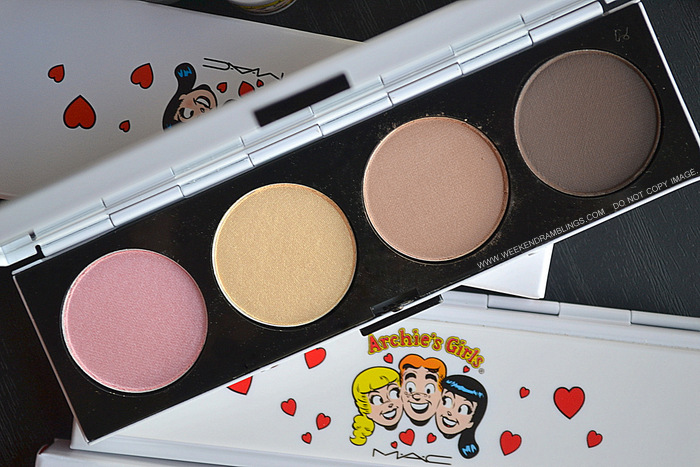 MAC Archies Girls Makeup Collection Spring 2013 Valentines Gift Ideas Photos Swatches Indian Beauty Blog Darker Skin WOC Betty Eyeshadow Quads Caramel Sundae cheryl Chic Dreammaker Showstopper
