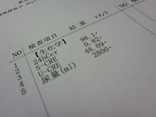 写真:検査結果用紙の数値