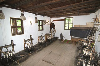 the workshop of the mechanical braid-knitting in the architectural-ethnographic village of Etar, Bulgaria