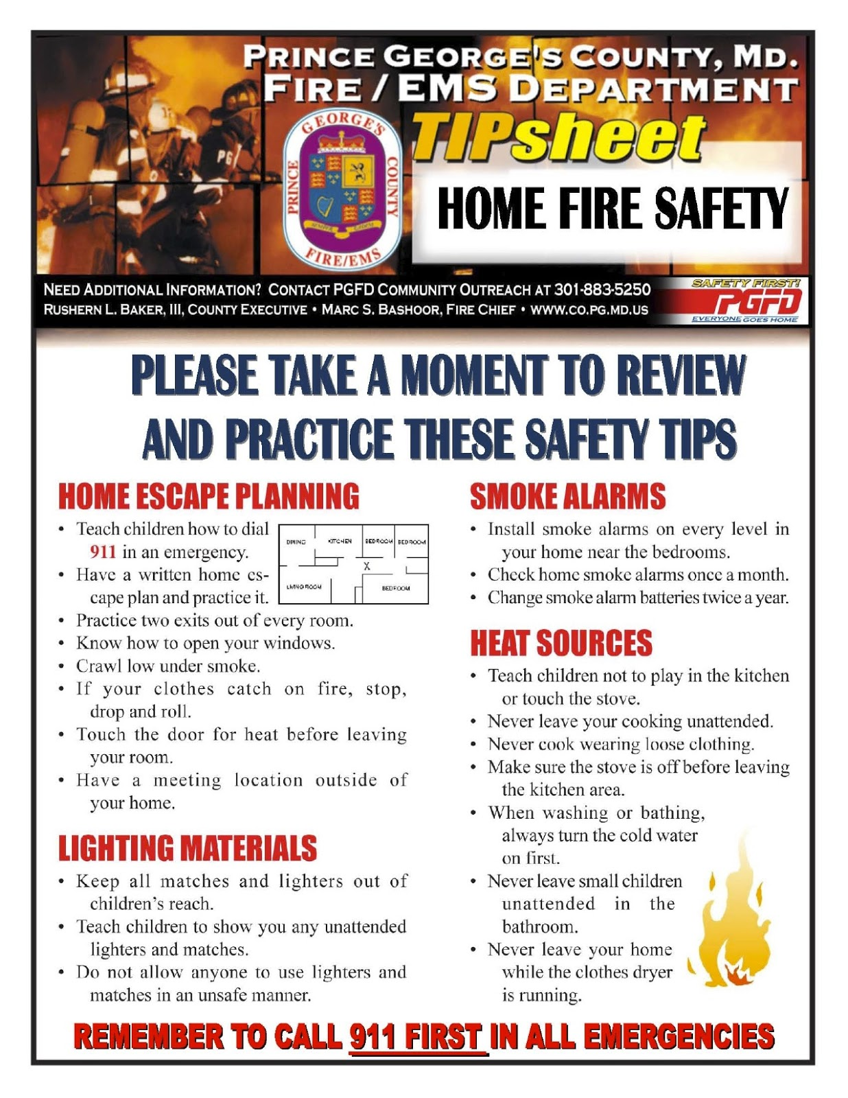 Prince george 39 s county fire ems department fire ems for Fire prevention tips for home