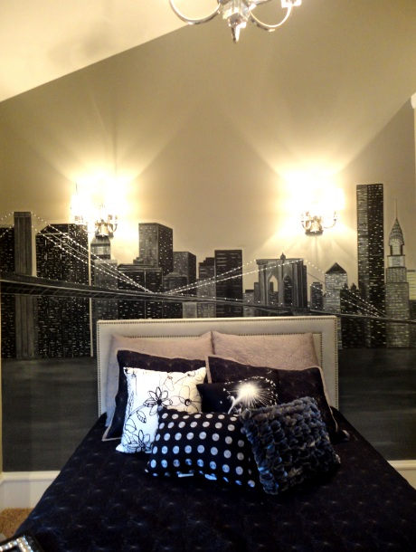 Bawden fine murals new york skyline mural - New york girls room ...