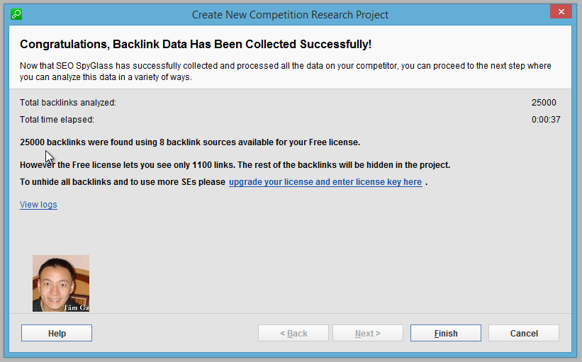 Seo-SpyGlass Step 5 : Congratulations, Backlink Data Has Been Collected Successfully!