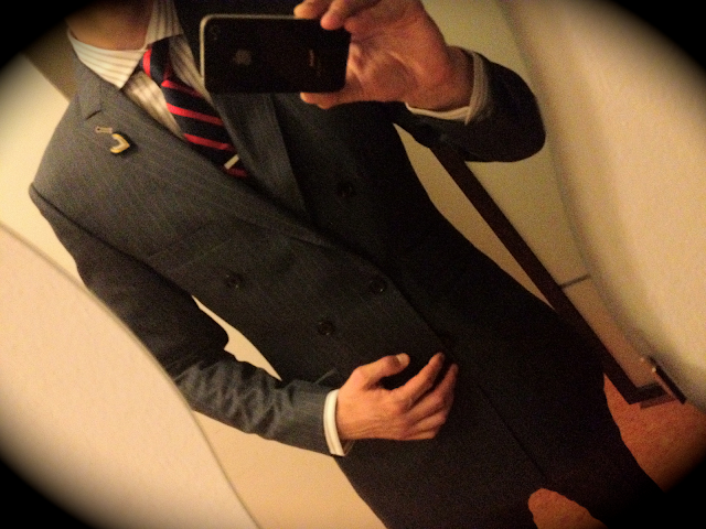Indochino superhero double-breasted blue pinstripe suit