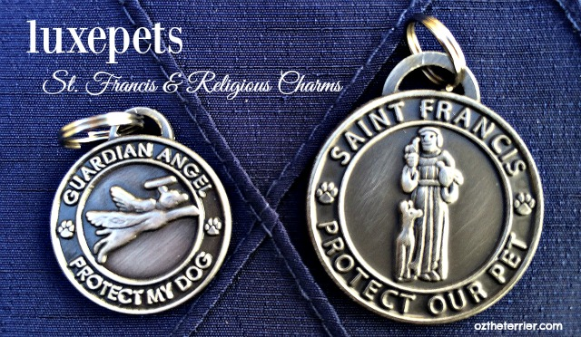 Oz the Terrier LuxePets St. Francis and Guardian Angel pet charms