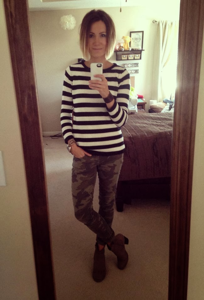 Striped sweater, camo pants, ankle boots