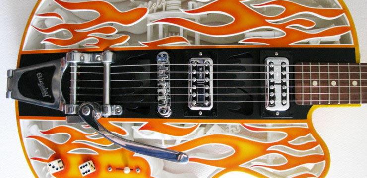 Estas guitarras impresas en 3D con partes móviles son fabulosas