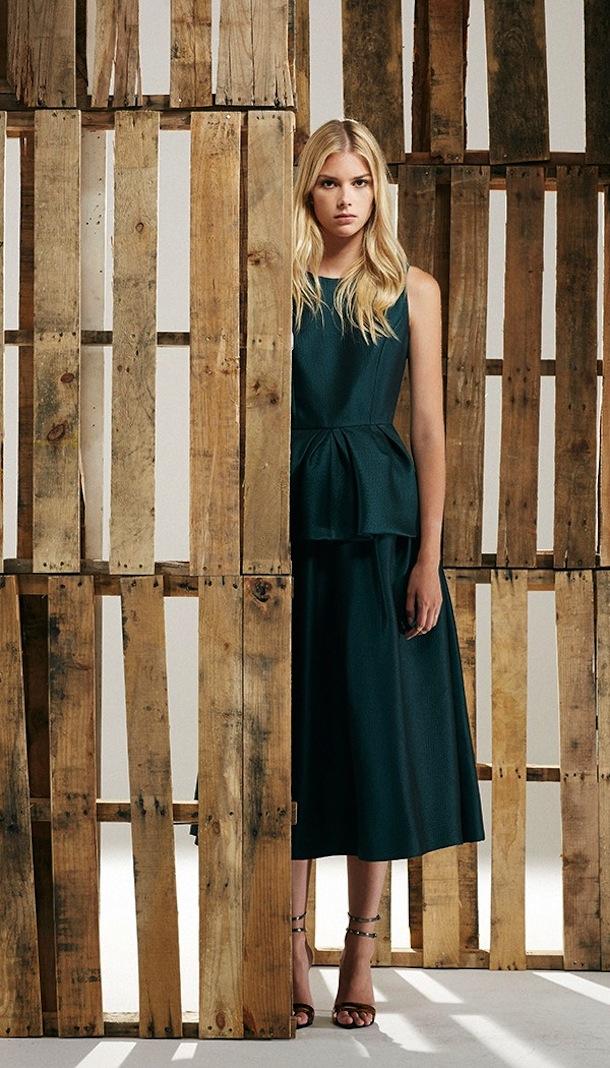 Tibi Simona Jacquard Peplum Top And Full Skirt Green Tibi Fall 13 | Southern Arrondissement