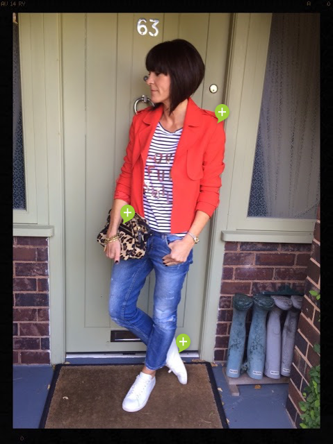 My Midlife Fashion, Red Blazer, Stripes, Sequins, Breton, Distressed Denim, Leopard Print, Animal Print, Zara, Boden, My Midlife Fashion