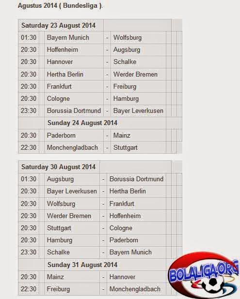Jadwal Jam Tayang Siaran TV Liga Jerman (Bundesliga) 2014