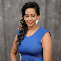 Hot gorgeous Sanjana singh in blue dress