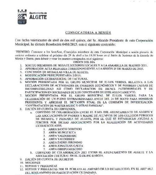 Orden del día del pleno del mes de abril de 2015