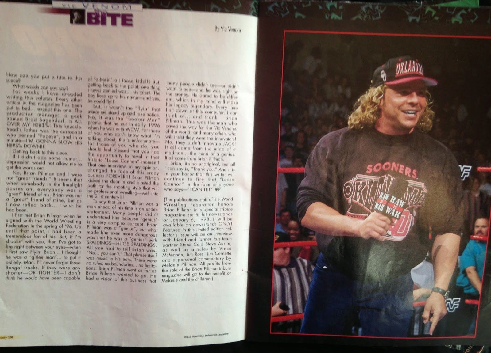 WWF MAGAZINE - JANUARY 1998 -  Vince Russo's tribute to Brian Pillman
