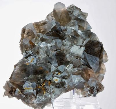 Plusieures pointes de quartz fumé posés sur une fine plaque, un cristal trouvé au Col des Cristaux dans le Mont-Blanc , photo : Philippe Dufrêne©Crystalmontblanc