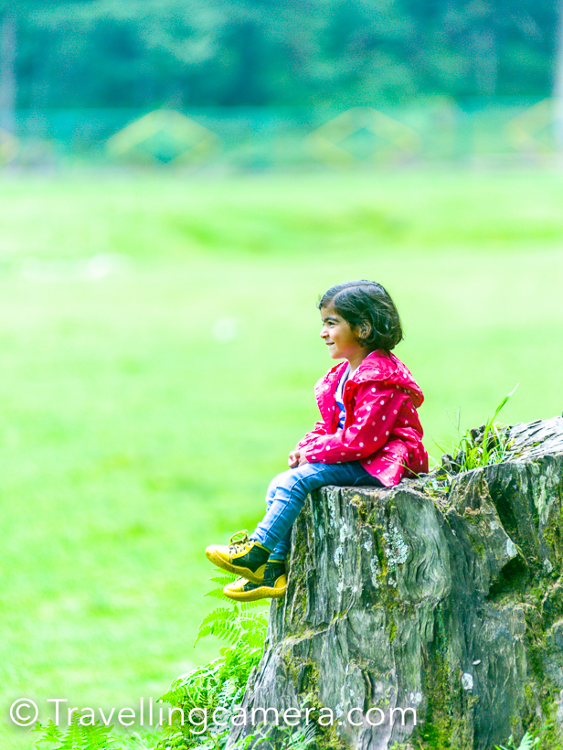 Rakshabandhan was a good reason to visit my sister in Dalhousie and meet Urvi. During one of the days, we planned an outing to Khajjiar . All photographs shared in this Photo Journey are from beautiful Khajjiar, which is also known as mini Switzerland of India.We planned to take bus from Dalhousie  at 9:30am which drop you at Khajjiar at around 10:15am. Urvi was not happy with the ride, but most of the times she was busy in showing things to me. Initially plan to hire a taxi and visit Chamba after Khajjiar, but then we realized that it will be too much for a day. So most of the day was spent at Khajjiar only. We walked around the lush green meadows of Khajjiar. Met rabbits, sheep, cows on our way from one side of Khajjiar lake to other. Urvi was very happy seeing Rabbits and sheep, but cows were dirty & they hadn't taken taken bath that day :). This was Urvi's best place to sit in Khajjiar and enjoyed sheep grazing and fighting with each other. At times she was doing commentary on how sheep and cows were moving from one part of the meadows to the other. We had our lunch at HPTDC hotel. It was an off season for them in August, so the restaurant was empty. They served good food. We played a lot, walked tirelessly and then headed back towards road to catch the bus for Dalhousie. After Urvi reached home, she said that next time we will not go in bus - 'ham tuk-tuk vali bus mein nahin jayenge' :). It was a day well spent with Urvi and Khajjiar is definitely a great for day outing with kids. Now there are some arrangements for kids to enjoy. We also realized that we could have taken some of teh Urvi's toys with us. Wish to plan another such outing soon and with better planning.