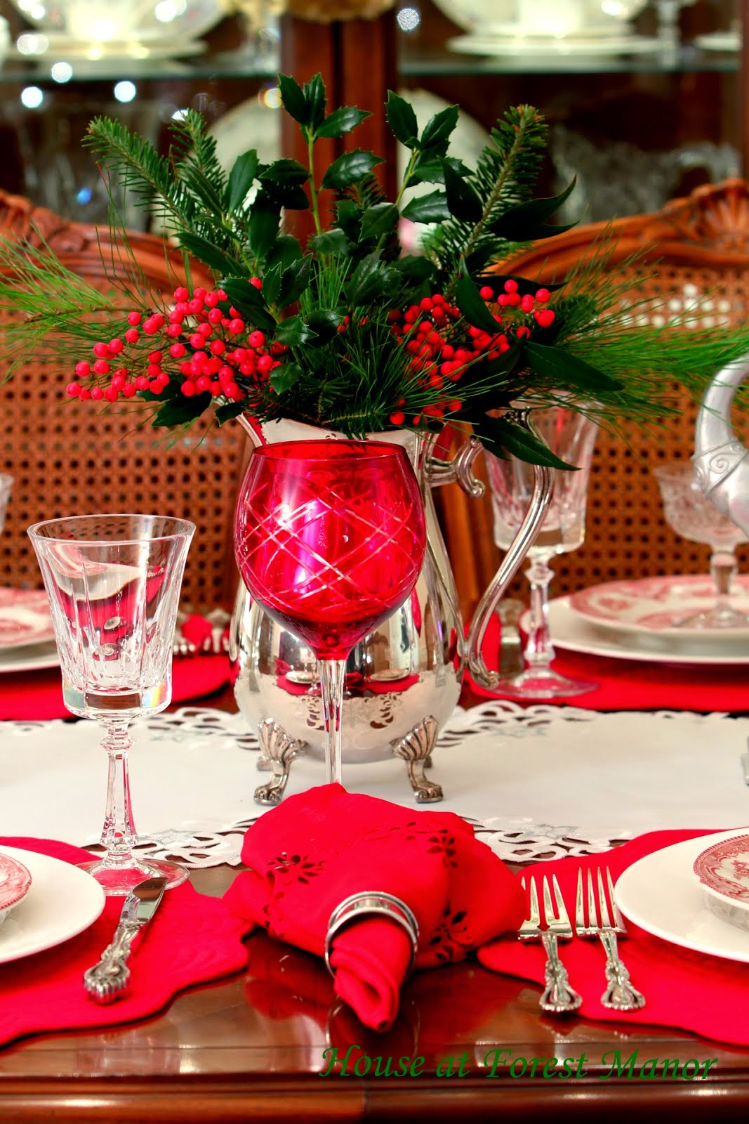 Silver and Red Christmas Table