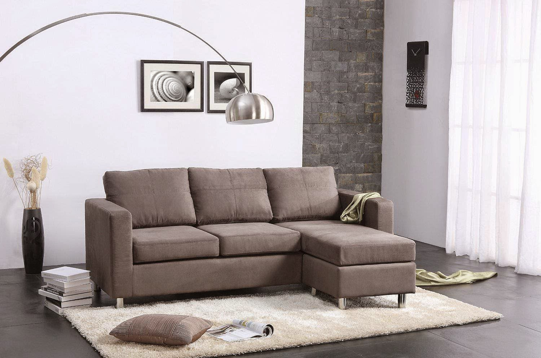Dorel Asia Microfiber Sectional Sofa, Grey