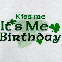 """Kiss Me It's My Birthday"" Irish birthday t-shirt picture"