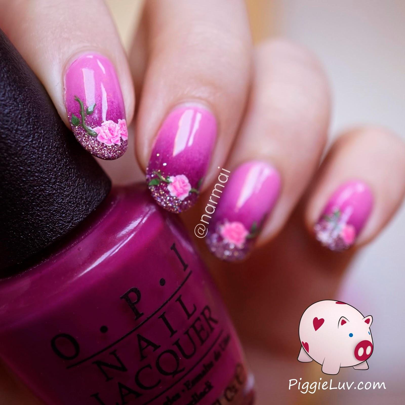 PiggieLuv: Freehand roses nail art for Valentine