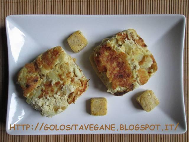 aglio, Buona Pasqua Vegan, cipolle, frico friulano, lievito alimentare in scaglie, panna soia, patate, polenta, ricette vegan, Secondi, tofu,