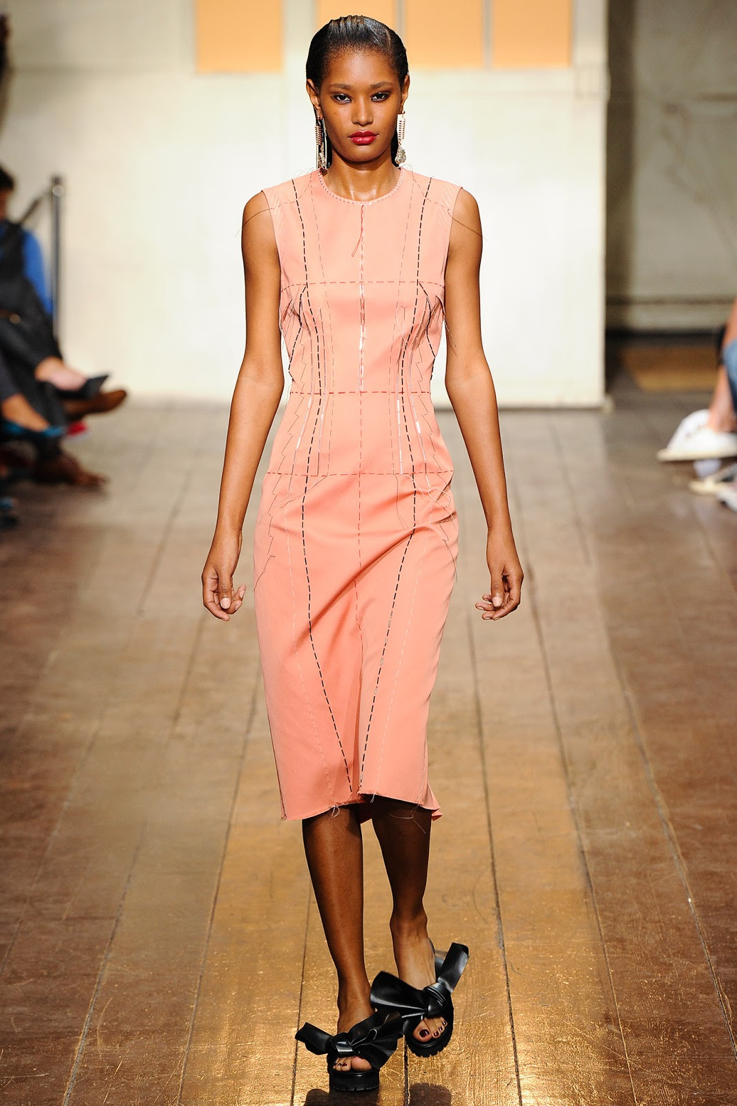 Pantone colour trend report 2015 / strawberry ice on a runway at Cedric Charlier Spring/Summer 2015 via fashioned by love brutish fashion blog