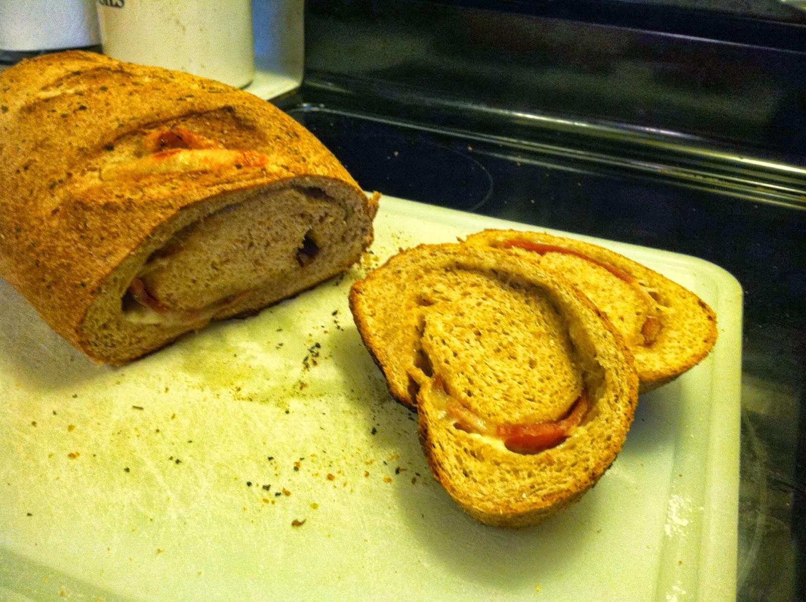 Adventures In Bacon: Pumkinfest (Bacon, Ham & Swiss Stuffed Bread)