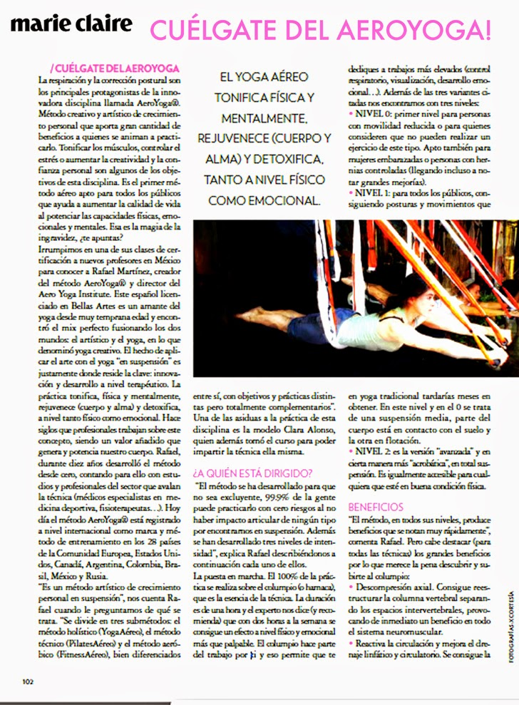 AeroYoga®: yoga aéreo en prensa Marie Claire México latino América