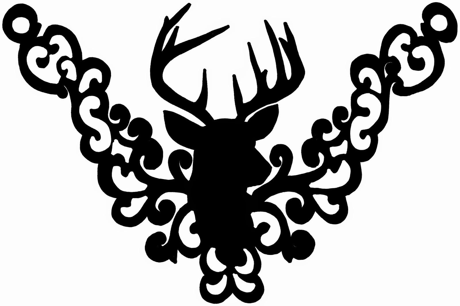 Doodlecraft Gold Deer Head Trophy Filigree Necklace