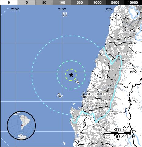 Epicentro sismo 6,3 grados en CHile, 18 de Marzo 2015
