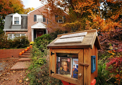 Little Library book lending kiosk in Bethesda,. As shelter for birds, with sometimes a sentence on the roof, and a window through which books can be seen the small libraries have flourished in Washington, DC