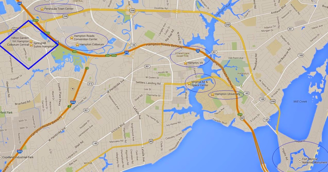 Map of Hampton Virginia Attractions