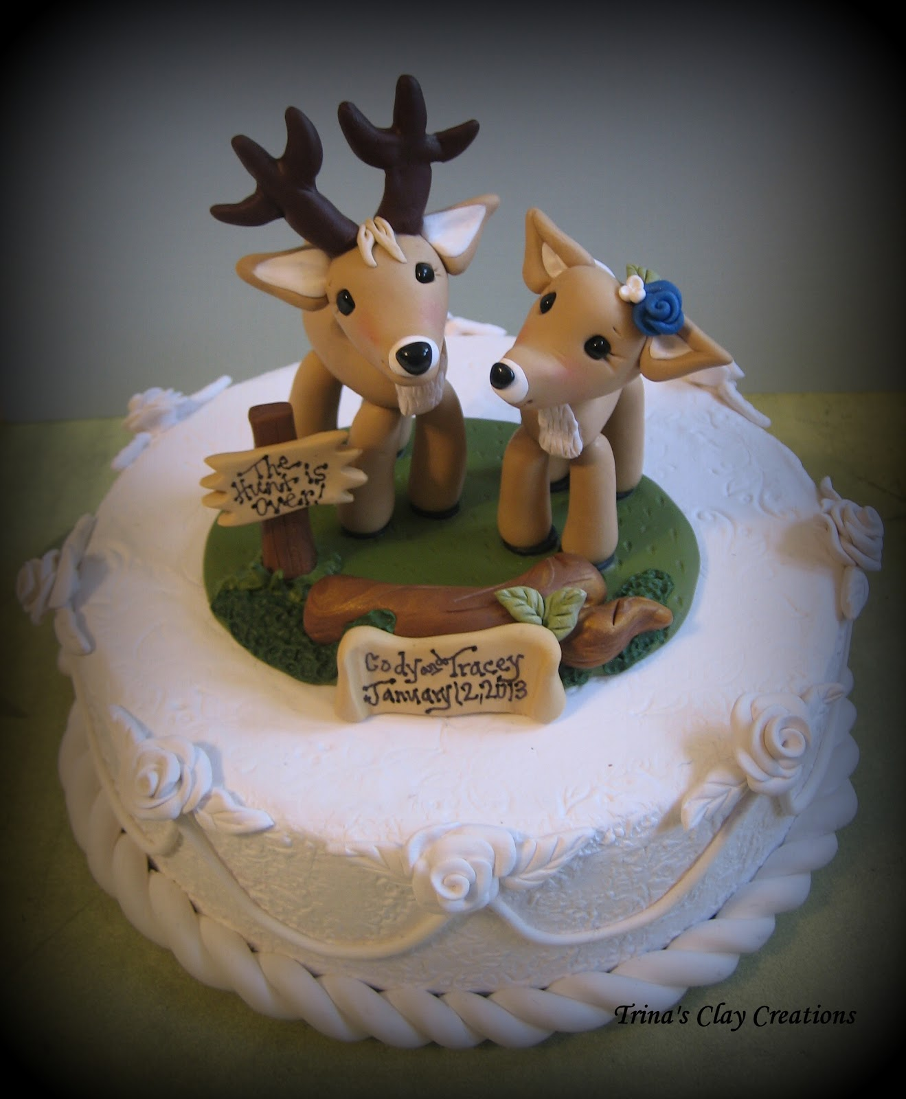 buck and doe wedding cake toppers