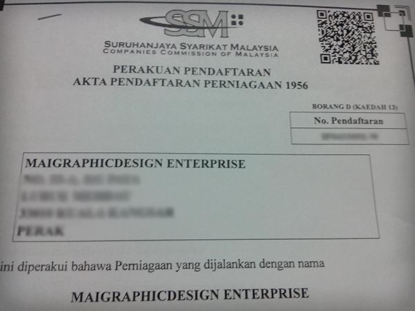 MaiGraphicDesign Enterprise, Suruhanjaya Syarikat Malaysia (SSM), maisarahsidi.com