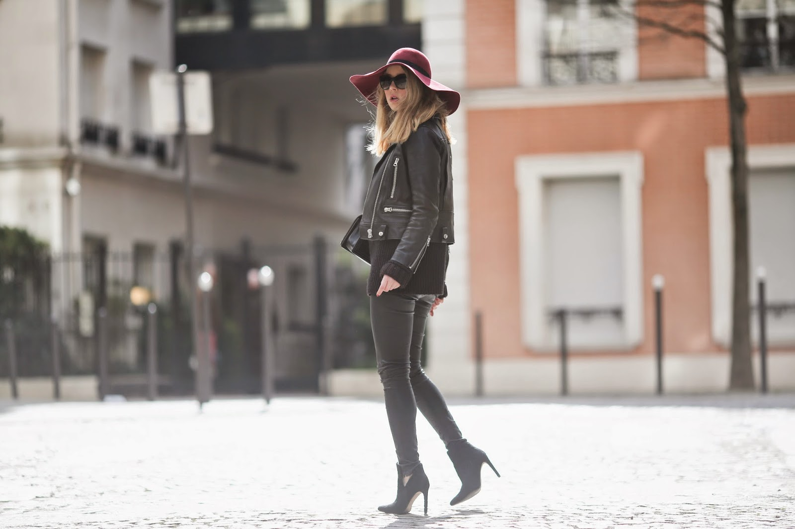 leather, maison michel, zara, acne, blk dnm, streetstyle, paris